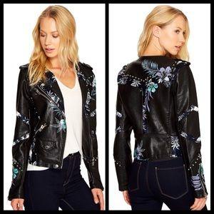 Blank NYC black navy stud floral leather jacket